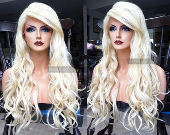 Blonde Human Hair Blend LACE FRONT Wig // Platinum Blonde Wavy Swiss Lace // Heat OK Curly Long Wig w/ Baby Hairs