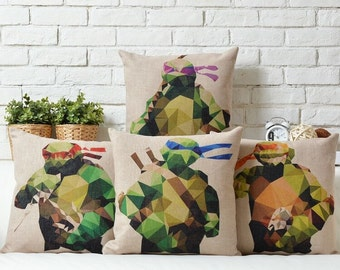 Ninja Turtles Throw Pillow, Decorative Pillow Cover, Cushion Cover, Bedroom Decor, Sofa Pillow Case, Accent Pillow Living Room