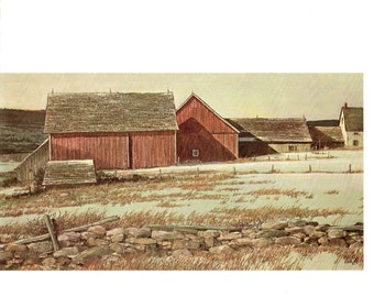 New England Farm House, yes you are seeing it correctly The are attached. Painting by Eric Sloane for I Remember America
