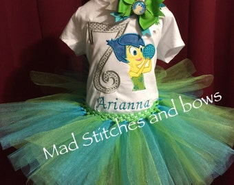 Inside out Custom embroidered birtday shirt and turu outfit with bow