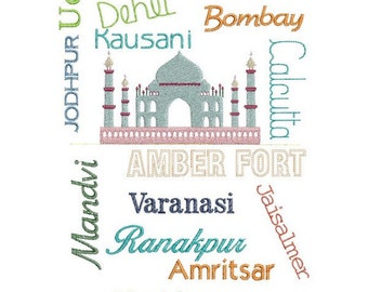 Taj Mahal and  cities embroidery design