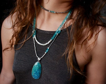 Labradorite, Apatite + Thai Hill Tribe Silver Necklace + Wrap Bracelet