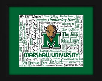 Marshall University 16x20 Art Piece - Beautifully matted and framed behind glass
