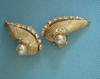 Golden Diamente and Pearl Winged Earrings
