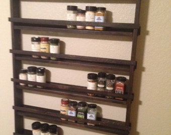 Large Rustic Wood Spice Rack