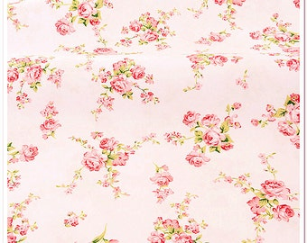 SALE Roses Cotton Fabric Flower Fabric Shabby Chic Pink Floral on off white Cotton Fabric for Cloth Bag Home Decor 1/2 yard f184