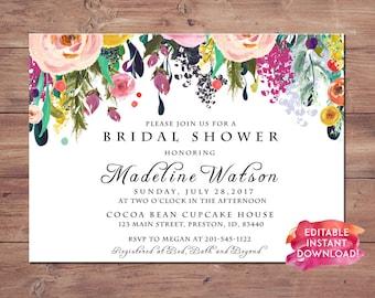 Instant Digital Download File PDf  Bridal Shower Invitation   Watercolor bridal shower invite   floral bridal shower invite