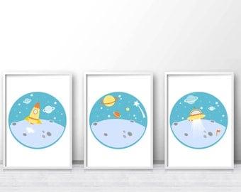 Space Nursery Art Set, Boys Room Art,  Nursery Set Of 3 Prints, Kids Wall Art, Boys Room Decor,  Space Wall Art, Kids Wall Print, Space Art