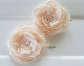 Bridal hair flowers set of 2, pale peach wedding bridal hair clips, bridal hair accessories, flower girl hair flower, wedding hair accessory