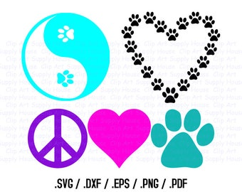 Animal Pet Love SVG Clipart, SVG Office Wall Art, Pet SVG File, Silhouette Studio, Cricut Design, Brother Scan Cut, Die Cut Machines - CA239