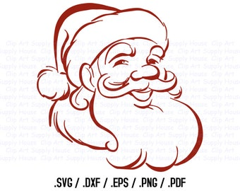 Santa Claus Clipart, Winter Christmas Wall Art, Santa SVG File for Vinyl Cutters, Screen Printing, Silhouette, Die Cut Machines - CA324