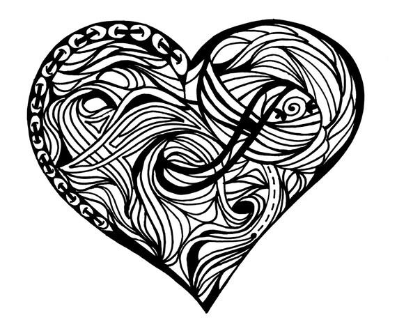 Line Art Zendoodle : Heart line art clip zendoodle inspired