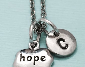 Hope necklace, hope charm, inspirational necklace, initial necklace, initial charm, monogram