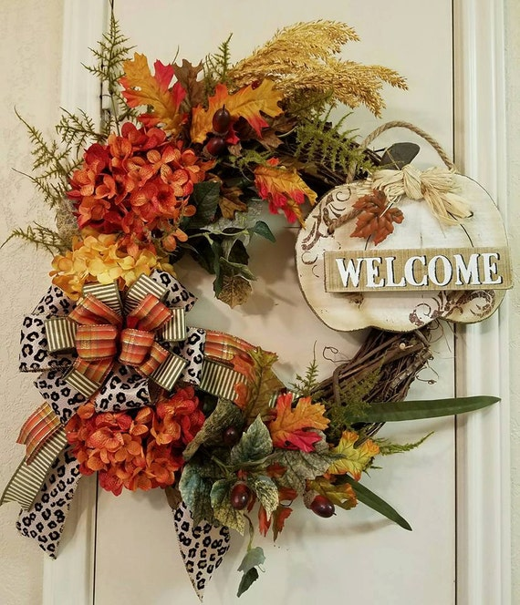 Welcome Guests With Fall Door Decorations: Items Similar To Fall Welcome Wreath, Thanksgiving Wreath