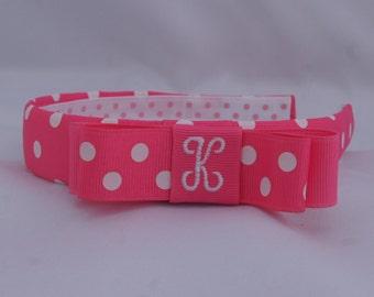 Hot Pink Dots Tuxedo Headband