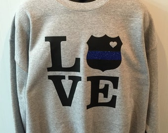 Police wife sweatshirt police mom sweatshirt police girlfriend sweatshirt new