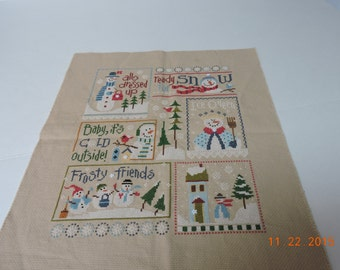 Completed Cross stitch Lizzie Kate Snowmen