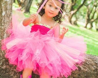 Pink and Gold Tutu Princess Dress, Tutu Dress, Gold and Pink Tutu Dress
