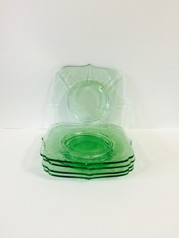 Green Depression Glass dishes at prettypoppiesvintage