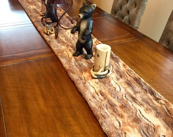 Faux Fur Table Runner - Holiday Table Runner - Luxury Table Linens - Thanksgiving Table Linens,  Rich Browns and Golds