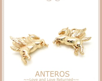 6 PCS Gold Filled Medium Winged Horse Pegasus, Flying Horse Charms/Pendant,16mmx15mm,Handmade Bracelet,Necklace,Gold Filled Brass(GFPC0062)
