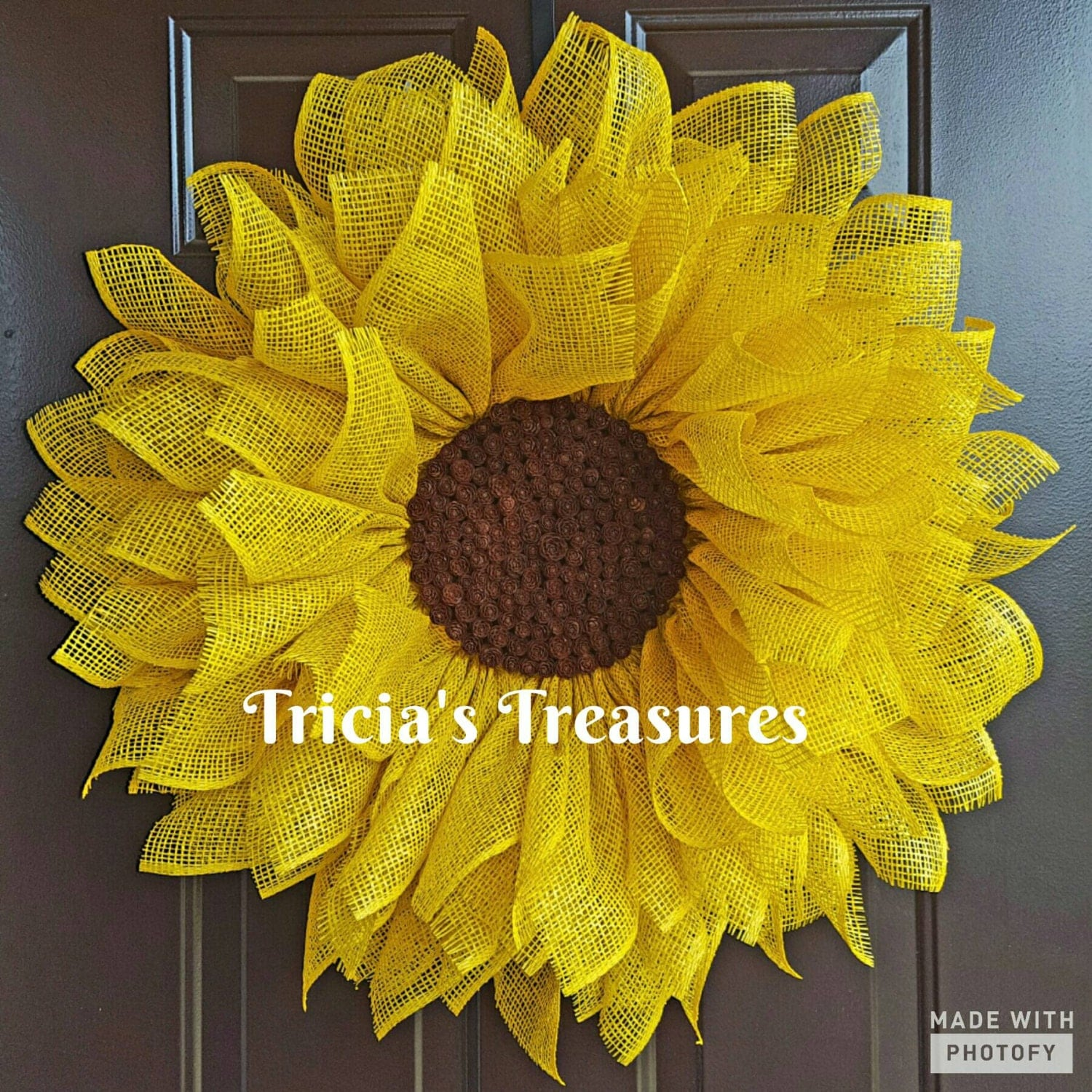 Yellow Sunflower Wreath Sunflower Wreath Poly Burlap