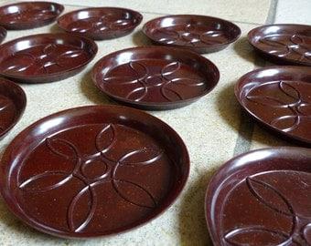 Vintage bakelite coasters set of twelve dark brown
