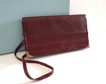 Mid Century Small Handbag in Dark Purple Faux-Crocodile Leather