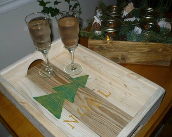 Christmas in recycled wood tray