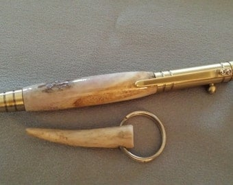 Bolt Action tech pen turned with Antler in antique brass