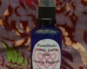 Love and Passion Crystal Energy Mist with Gem Essence and Essential Oils for meditation, clearing and purifying