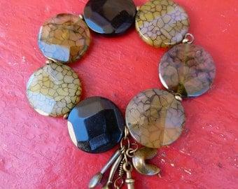 Stone Bracelet with Brass Charms, BO604