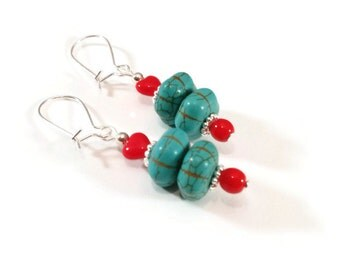 Turquoise Earrings, Heart Turquoise Earrings with Silver Plated Accents, Everyday Jewelry, Gift Idea