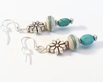 Lampwork Earrings, Lampwork Bead Earrings, Turquiose Beaded Earrings, Floral Earrings, Southwestern Style Jewelry, Gift for Her