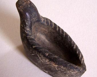 Soapstone Oil Lamp - Prehistoric Carved Soapstone Oil Lamp - Looks Inuit to Me