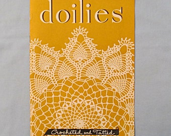 Crochet and Tatting Pattern Booklet 'Doilies', Several Sizes and Shapes, 1940s, Lacy Patterns