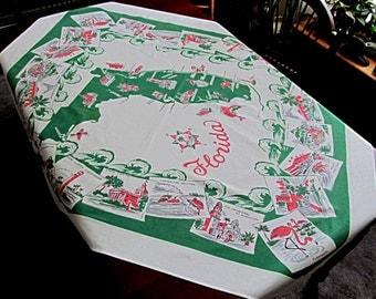 Florida Tablecloth, State Map, Souvenir, Miami, Palm Trees, Flamingos, Cities, 1950s, White Cotton