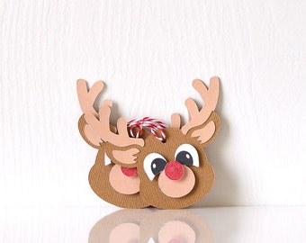 Reindeer Tags Set of 10: Dear with a glittery red nose and layered antlers, decorate holiday presents, gifts for kids, party decor- LRD002CT
