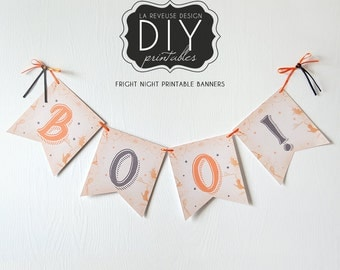 Two DIY Printable Fright Night Banners (Digital File): Print, cut, and decorate with these banners for Halloween and autumn - LRD026DD