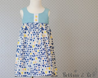 Funky Teal and Blue Girls Dress || Toddler Dress || Party Dress || Girls clothing || Summer Dress || SIZE 2
