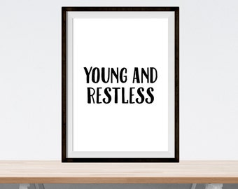 """printable art - """"young and restless"""" - digital download print - home decor wall art - black and white print - nursery and child bedroom art"""