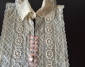 1920s vintage embroidered net lace bib and collar with hand painted mother of pearl buttons.
