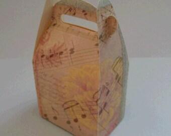 Wedding Favor/Favour Box with Vintage Music Printed Design fbvl12