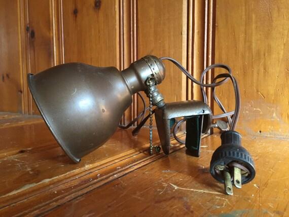 metal overhead clamp light vintage bed lamp vintage metal. Black Bedroom Furniture Sets. Home Design Ideas