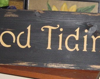 Good Tidings.......Christmas primitive wall,sign,plaque,hanging/Repurposed wood usedl/painted/stenciled/handmade/ruff finish