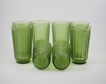 Vintage Retro Advocado Green Ribbed Glass Set, Beverages, Iced Tea, Water