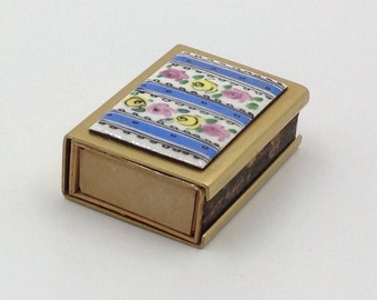 Vintage Matchbox, Hand Painted, China, Porcelain and Brass with Original Matches, Floral Matchbox