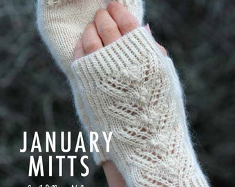 Mitts Knitting Kit. January Mitts Pattern Plus One Hank Of Titus Wool in White Rose, William Nelson, available with KnitPro Zing needles.