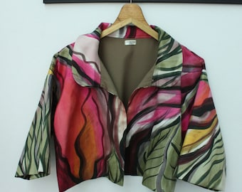 Silk jacket. Hand painted on silk.