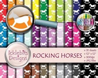 "Baby Digital Paper Pack ~ ""ROCKING HORSES"" ~ 31 Sheets ~  baby scrapbooking ~  CU Scrapbooking Paper ~ Rainbow Paper ~ Design #102"